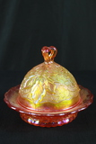 Signed Carnival Glass Covered Butter Dish