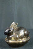 Signed Glass Rabbit On The Nest