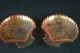 2 Carnival Glass Oyster Plates