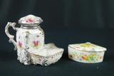 Porcelain Trinket Box & Porcleain Creamer