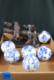 6 Asian Blueware Balls & Pair Of Bookends