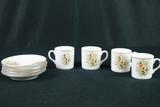 Oriental 4 Cups & Saucers