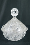 Blue Bird Pattern Pressed Glass Dish