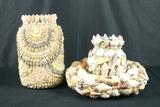 2 Shell Vases & Shell Wreath