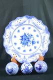 3 Blueware Glass Balls & Blueware Plate