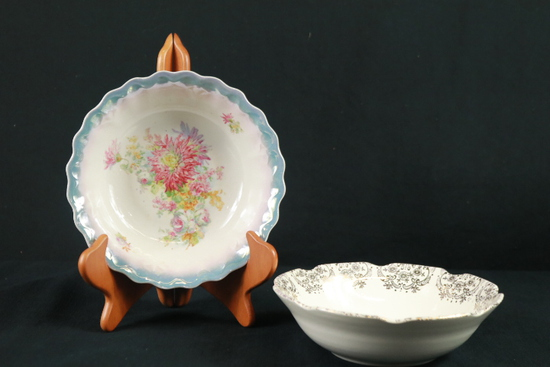 22 Kt. Gold Trimmed Colonial Style Bowl & German Hand Painted Bowl