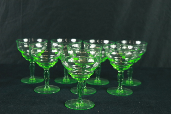 8 Green Depression Glass Stems