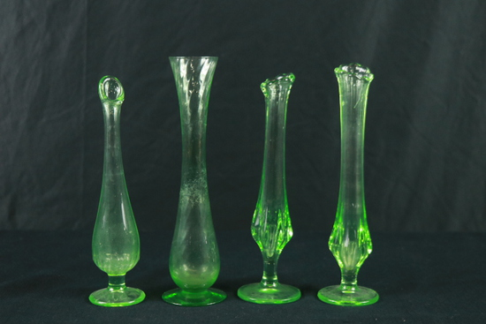 4 Green Depression Glass Vases