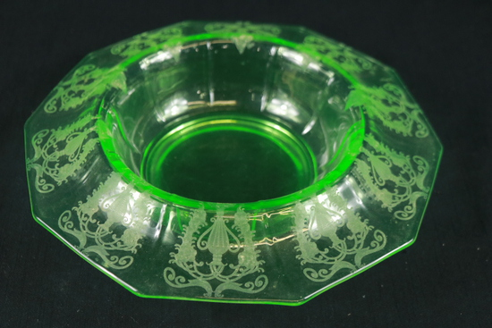 Green Depression Glass Etched Bowl