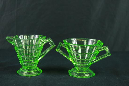 Green Depression Glass Sugar & Creamer
