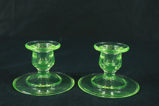 Green Depression Glass Pair Of Candle Sticks