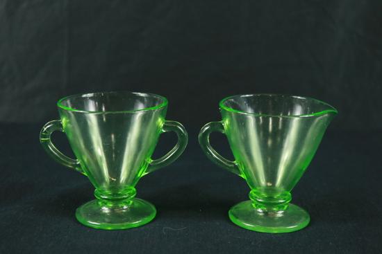 Green Depression Glass Creamer & Sugar