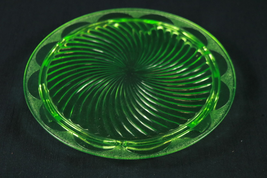 Green Depression Glass Cake Plate