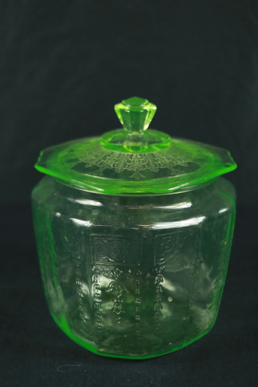 Green Depression Glass Center Handled Plate