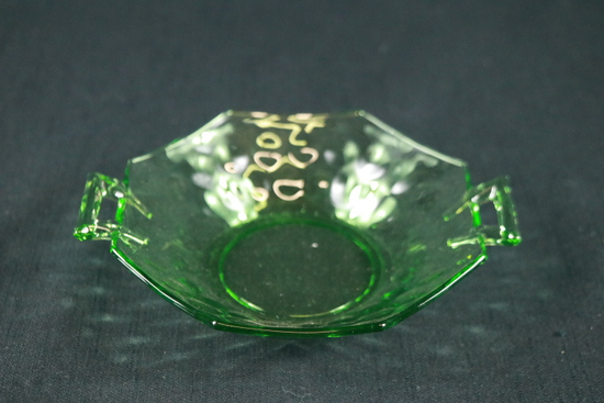 Green Depression Glass Handled Bowl