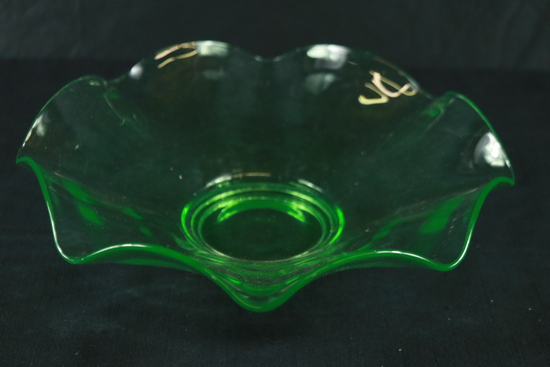 Green Depression Glass Fluted Bowl