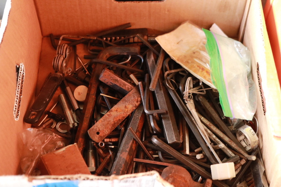 Box Of Assorted Allen Wrenches & Tools