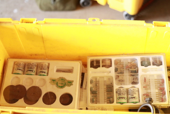 Toolbox With Dremel Tool With Attachments