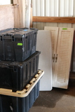 Changing Table, Metal Cabinet, & 3 Plastic Totes