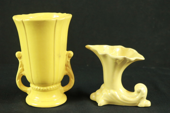 2 Yellow Ware Vases
