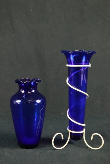 2 Cobalt Vases
