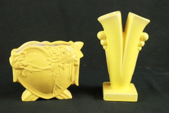 2 Yellow Ware Vases
