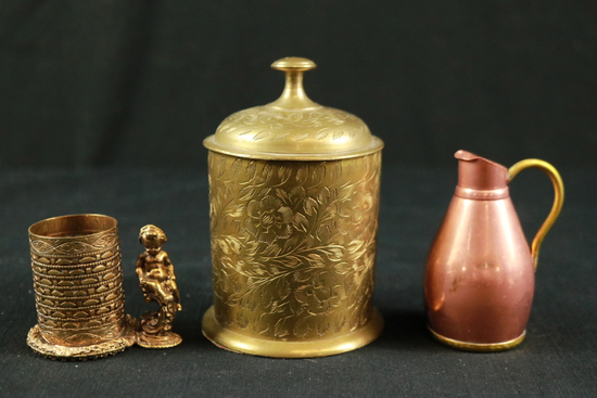 Brass Candle Holder, Brass Covered Bowl, & Copper Pitcher