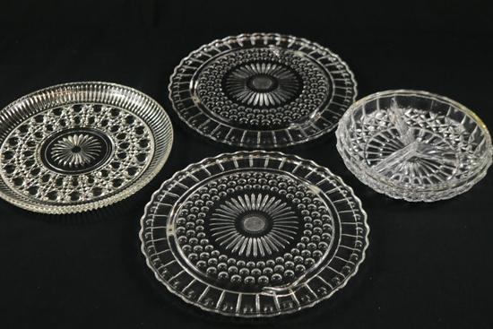 4 Assorted Glass Trays