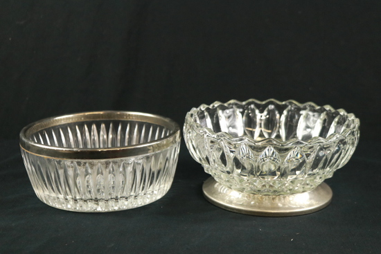 2 Silver Plated & Glass Bowls