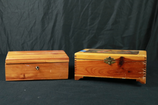 2 Wooden Boxes with Sewing Attachments