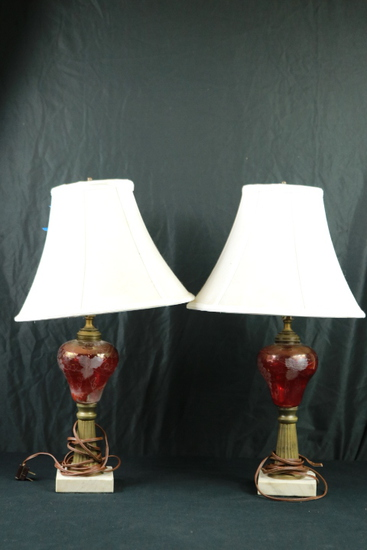 Pair of Ruby Glass Lamps