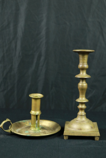 2 Antique Brass Candle Holders