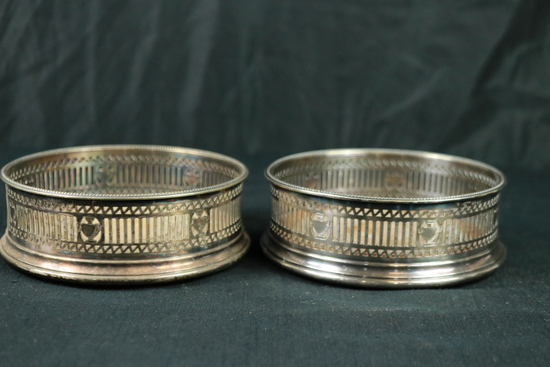 2 Silver Plated Wine Coasters