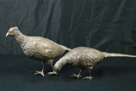 Pair of Pheasant Silver Plated Salt & Pepper Shakers