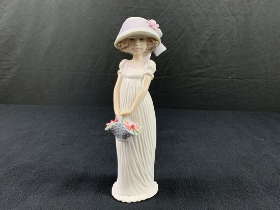 Girl With Basket Made by Lladro