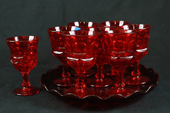 8 Ruby Glass Tumblers & Ruby Glass Tray