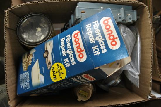 Box of Misc. Staples, Fiber Glass Repair Kit & More