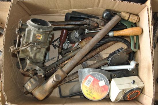 Box of Misc. Carburetor, Pipe Threader, & More