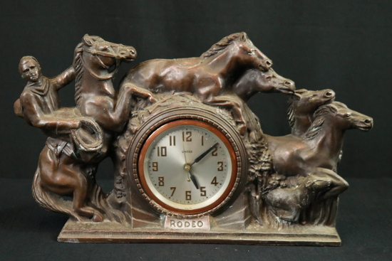 Metal Clock With Horses