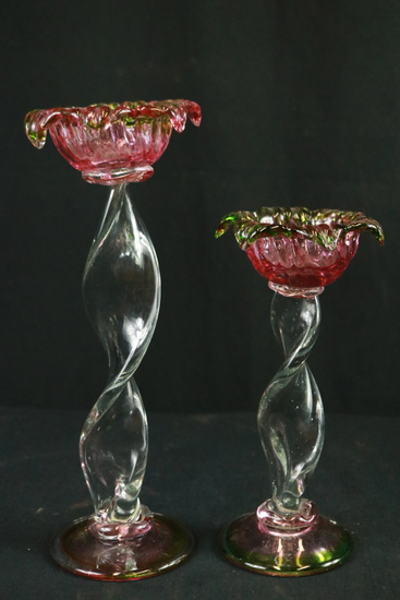 2 Art Glass Candle Holders