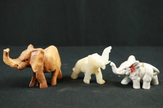 3 Elephant Figurines
