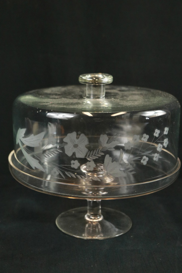 Etched Covered Cake Plate