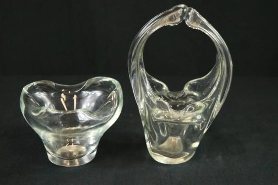 Glass Vase & Glass Basket