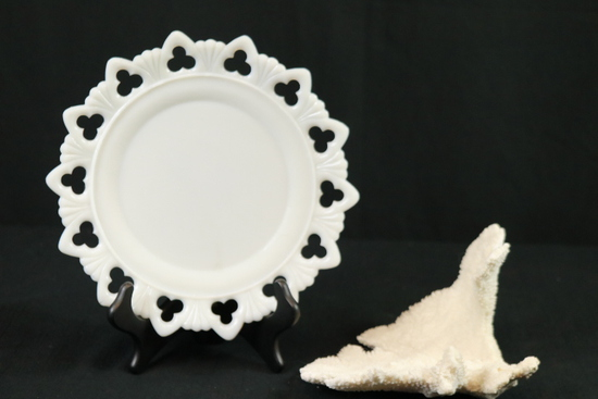 Piece Of Coral & Reticulated Milk Glass Plate