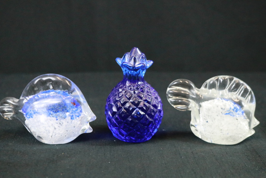 3 Glass Paper Weights
