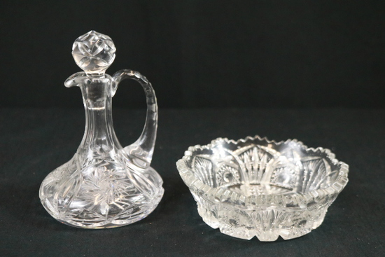 Cut Glass Bowl & Glass Cruet