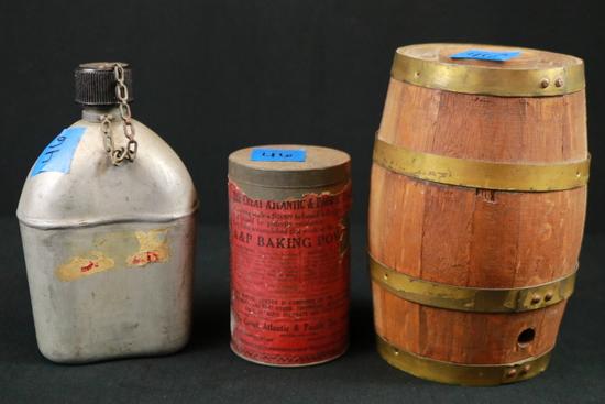 Tin Baking Powder Can, Antique Canteen, & Mini Barrel