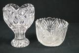 2 Pressed Glass Bowl & Vase
