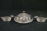 Covered Crystal Butter Dish & 2 Salts