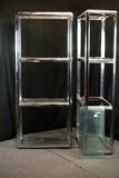 Pair Of Chrome Shelves With Glass Inserts